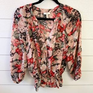 Joie Red Pink Silk Floral Blouse NWOT
